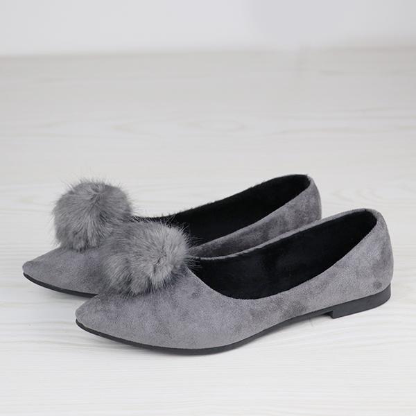 Furry Design Flat Bottom Casual Wear Shoes - Gray