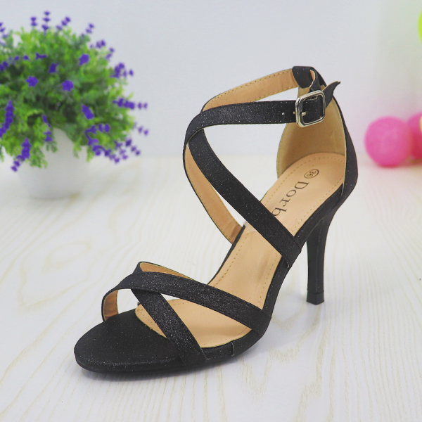 Glitter Party Wear Dorbe Stick Heel Sandals - Black
