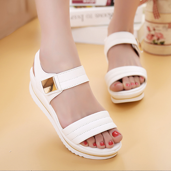 New Arrival Hot Summer Casual Fashion Midi Heel Sandals White