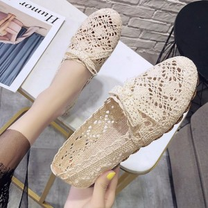 Textured Hollow Lace Canvas Printed Shoes - Khaki
