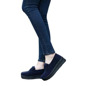 Female Fashion Thick Bottom Mother Slope Flat Shoes Dark Blue