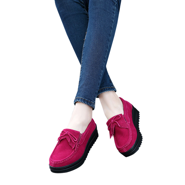 Female Fashion Thick Bottom Mother Slope Flat Shoes Hot Pink