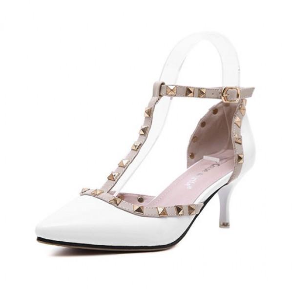 Women Sexy Pumps Shoes Rivets Toe High Heels Sandals White