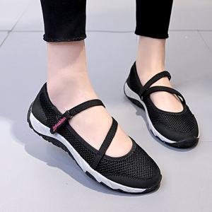Cross Strap Canvas Flat Sandals - Black