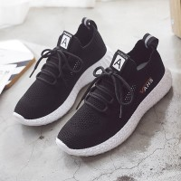 Hollow Flying Breathable Mesh Casual Summer Shoes - Black