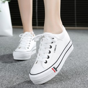 Flat Bottom Synthetic Leather Running Casual Shoes - White