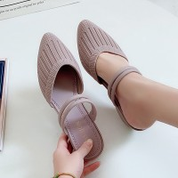 Striped Pattern Rubber Casual Wear Sandals - Purple