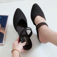 Striped Pattern Rubber Casual Wear Sandals - Black