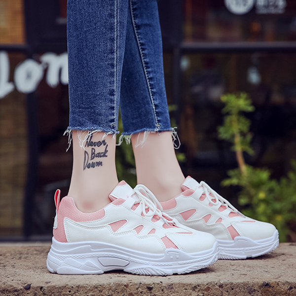 Casual Summer Soft Bottom White Pink Running Shoes