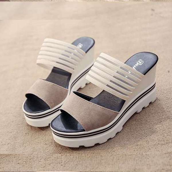 Heavy Bottom Comfortable Khaki Sandals