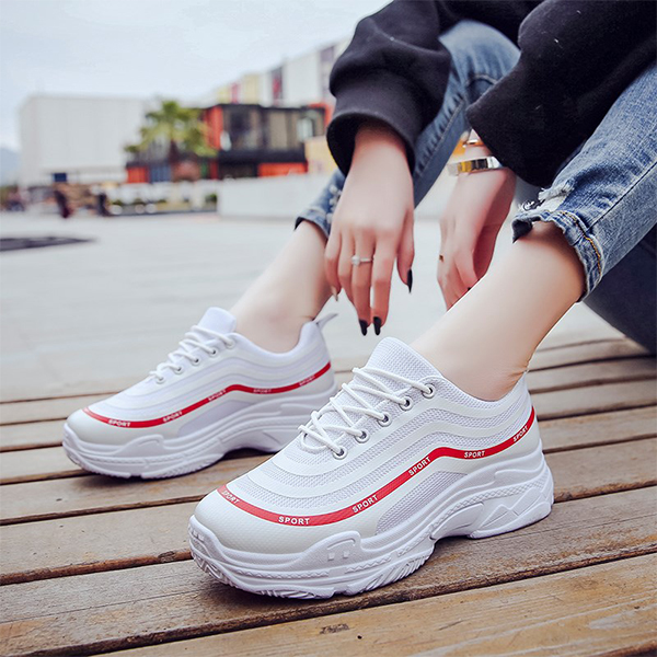 Heavy Bottom Running Casual White Sports Sneakers