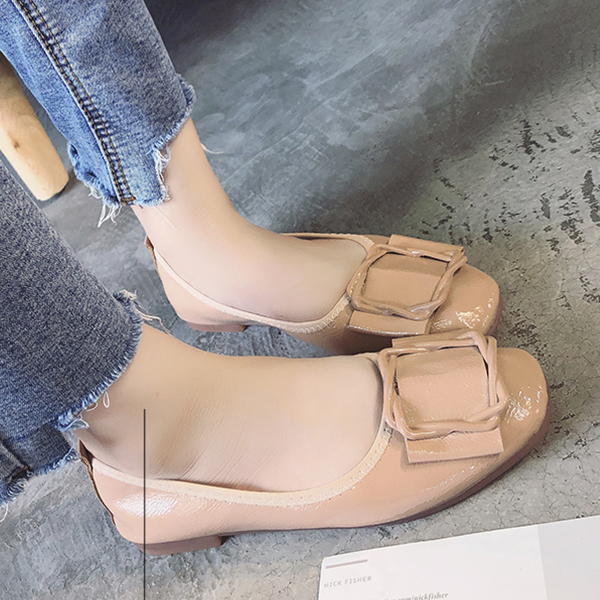 PU Leather Cross Buckle Flat Shoes - Apricot
