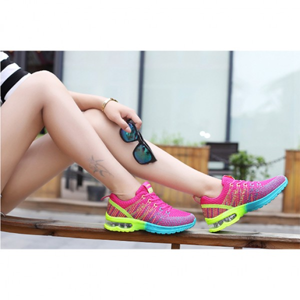Flying Sports Air Damping Women Running Travel Shoes Hot Pink
