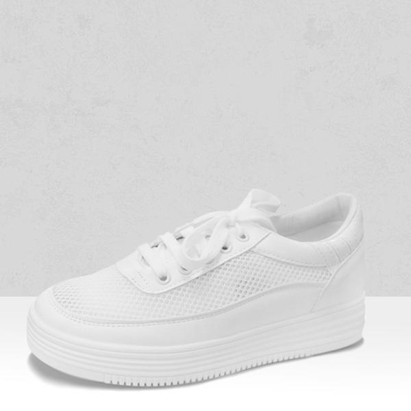 Heavy Bottom White Net Breathable Sneakers