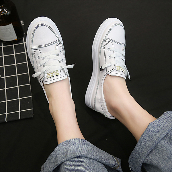Synthetic Leather Flat Lace Casual Wear Sneakers - Black