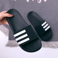 Stripes Rubber Sole Summer Open Slippers - Black