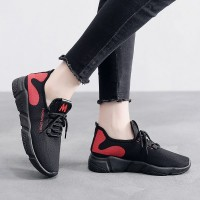 Breathable Non-slip Lace-up Casual Women Sneaker - Red
