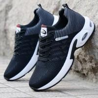 Mesh Pattern Stripes Pattern Sports Sneakers - Black