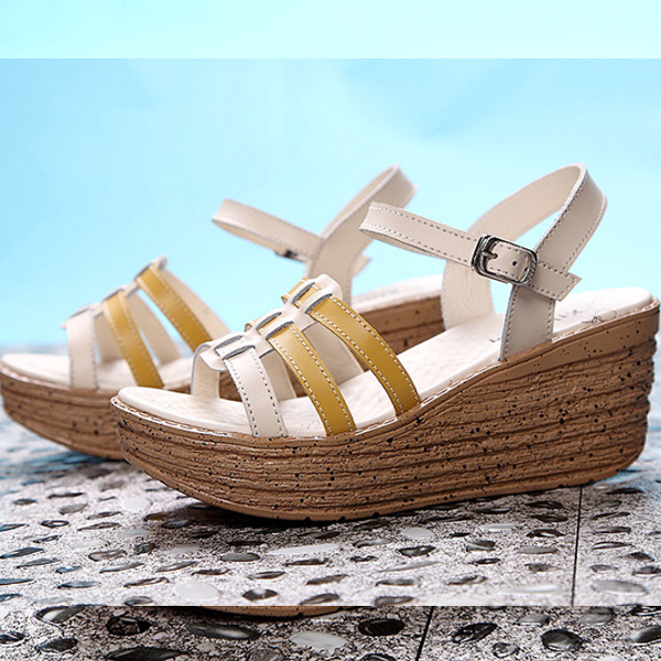 Thick Leather Sandals High Heels Fish Mouth Shoes Yellow