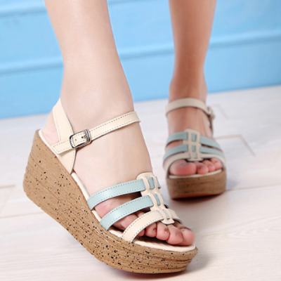 Thick Leather Sandals High Heels Fish Mouth Shoes Blue