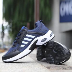 Mesh Pattern Stripes Pattern Sports Unisex Sneakers - Blue