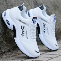 Sports Wear Rubber Sole Laced Up Casual Sneakers - White