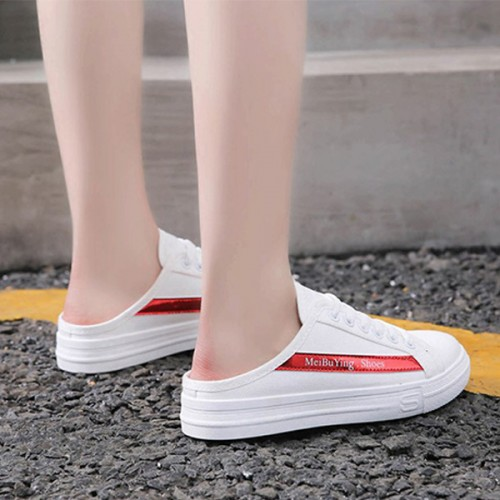 Laced Up Sports Canvas Slip On Sneakers - Red