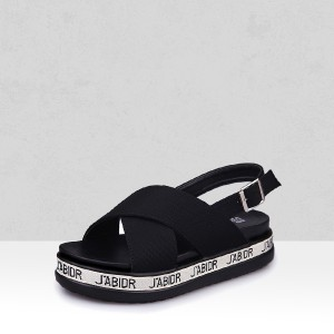 Black Wide Strapped Thick Bottom Buckle Sandals