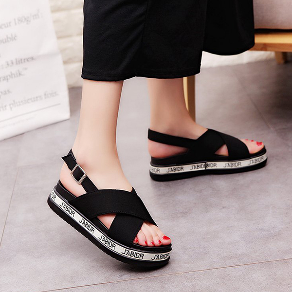 Red Wide Strapped Thick Bottom Buckle Sandals