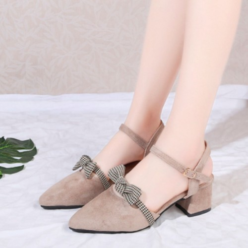 Bow Patched Pointed Suede Party Wear Sandals - Beige