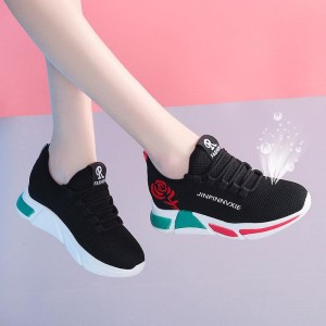Mesh Contrast Printed Canvas Breathable Sports Shoes - Black