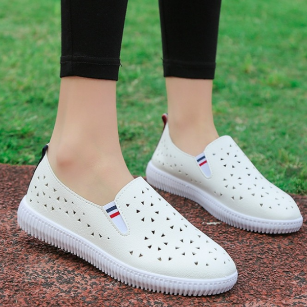 Engraved PU Leather Casual Sneakers - White