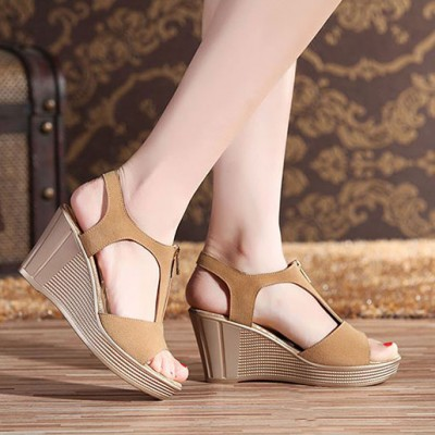 High Heeled Slope Fish Head Sandals Khaki