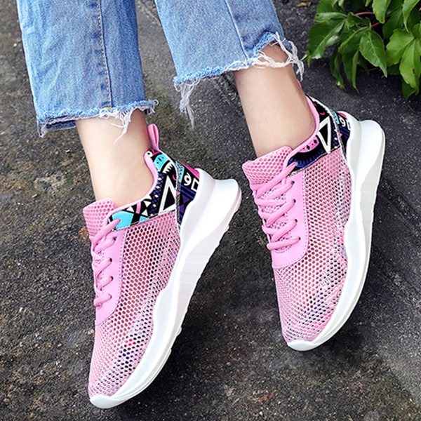 Summer Net Shoes Breathable Casual Sports Sneakers Pink