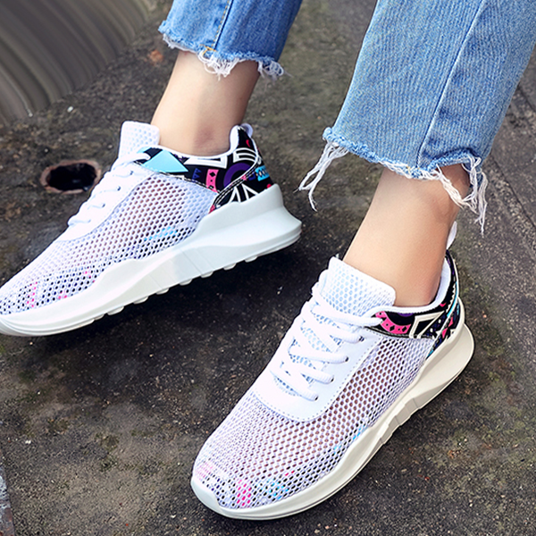 Summer Net Shoes Breathable Casual Sports Sneakers White