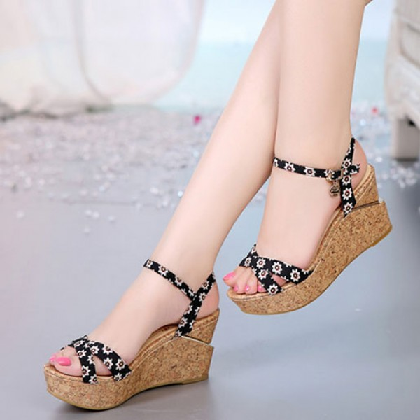 Fish Mouth Sandals Thick Crust Muffin Flat Shoes Waterproof Heels