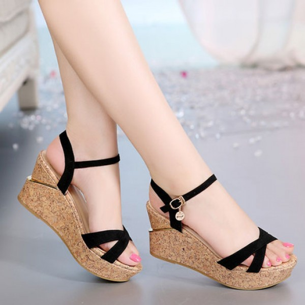 Fish Mouth Sandals Flat Shoes Waterproof Heels Black