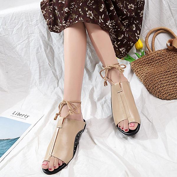 Rivets PU Leather Flat String Sandals - Beige
