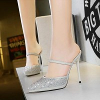 Crystal Decorative High Heel Party Wear Sandals - White