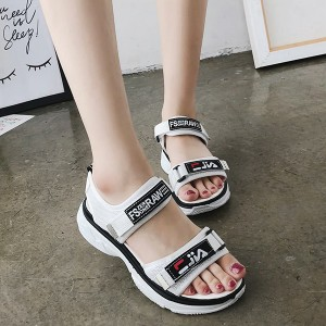 Thick Bottom Canvas Casual Sandals - White
