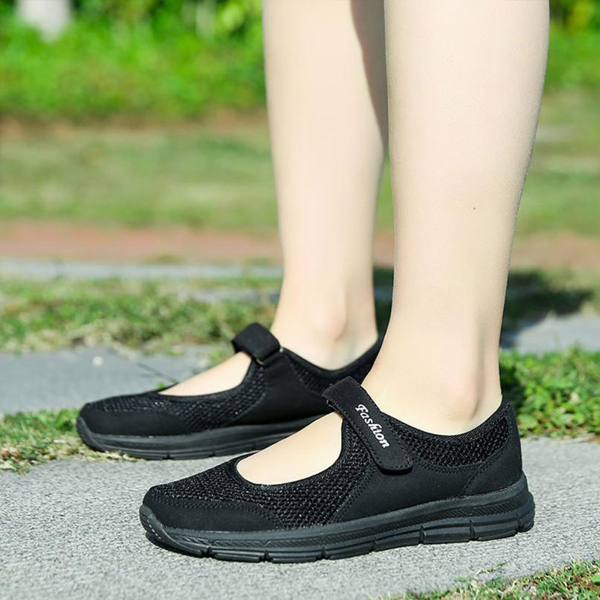 Soft Base Loop Closure Canvas Shoes - Black