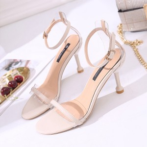 Pencil Heels Buckle Party Wear Sandals - White