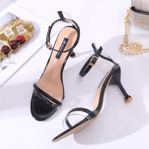 Pencil Heels Buckle Party Wear Sandals - Black