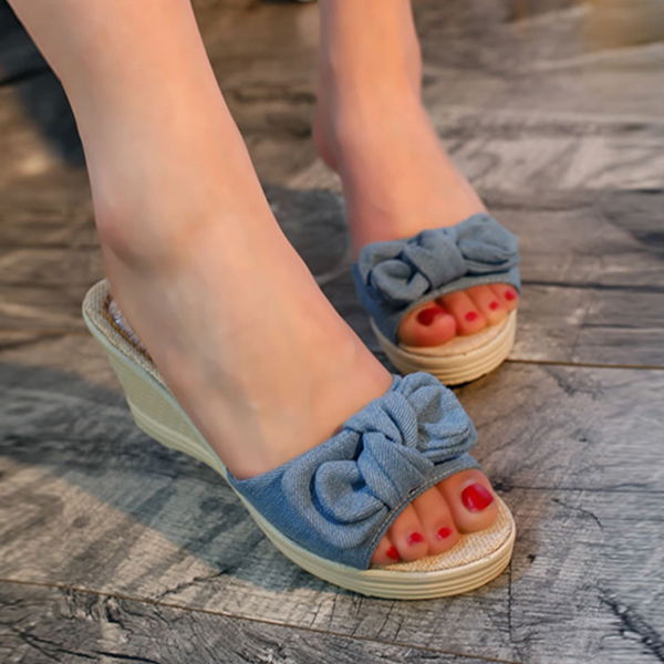 Thick Bottom Bow Patched Canvas Sandals - Blue