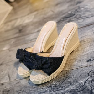 Thick Bottom Bow Patched Canvas Sandals - Black