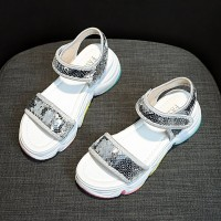 Sequins Decorative Velcro Closure Casual Sandals - Silver