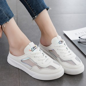 Laced Up Net Breathable Flat Open Sneakers - White