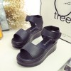 PU Leather Thick Bottom Black Formal Sandals