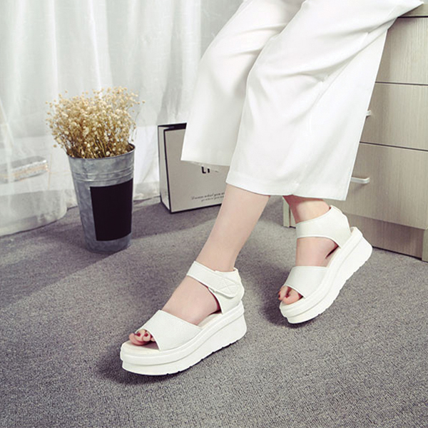 PU Leather Thick Bottom White Formal Sandals