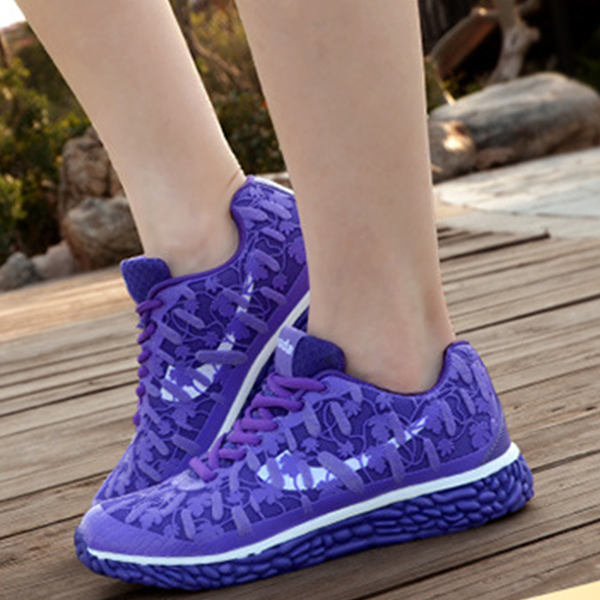 Latest Sneakers Casual Fluorescent Female Sports Shoes Purple